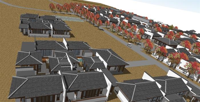 汉式休闲度假旅游区建筑规划方案su模型[原创]