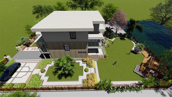 美式风格别墅庭院景观设计su模型[原创]