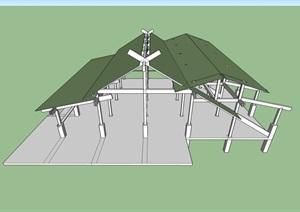 日本古建廊架素材SU(草图大师)模型