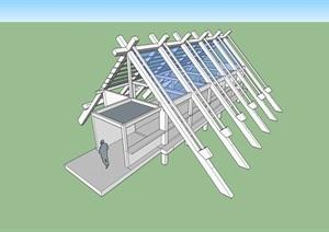 日本古建廊架素材设计SU(草图大师)模型