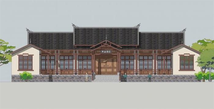 古典中式书院建筑su建筑模型[原创]