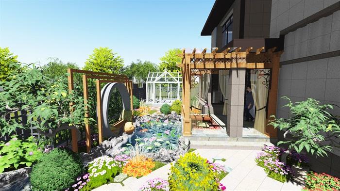 自然式庭院景观设计su模型含cad施工图[原创]