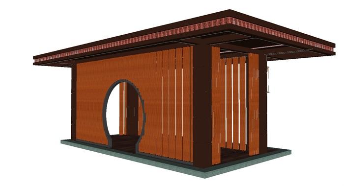 新中式景观廊架su细致模型[原创]图片