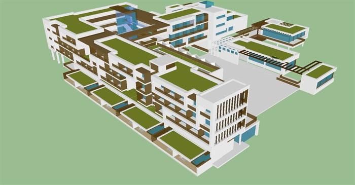 现代旅馆建筑设计方案su模型[原创]