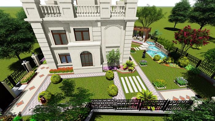 欧式庭院及别墅设计su模型[原创]