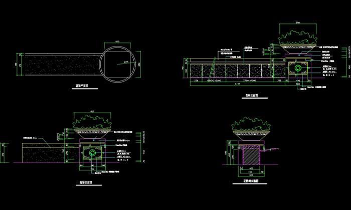 现代详细的花钵设计cad施工方案[原创]
