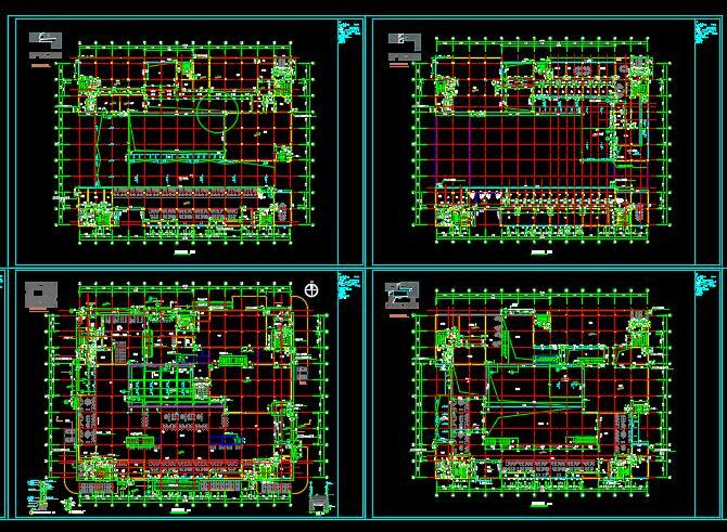 政务中心档案馆行政办公楼建筑设计cad平立剖及效果图