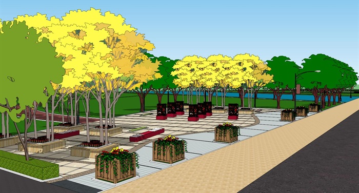 滨河公园三个入口设计su模型[原创]