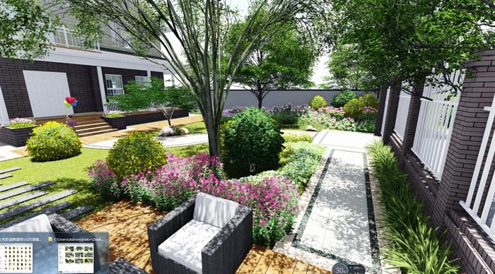 现代风格庭院详细景观设计su模型及效果图[原创]