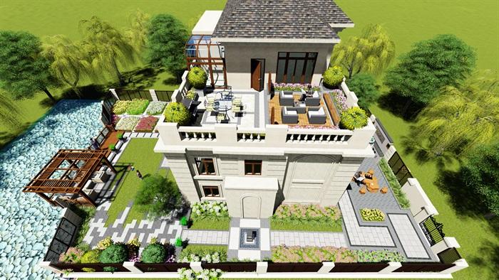 现代中式庭院完整设计su模型及效果图[原创]