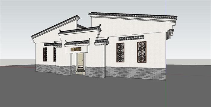 中式公厕详细建筑钱柜娱乐su模型[原创]