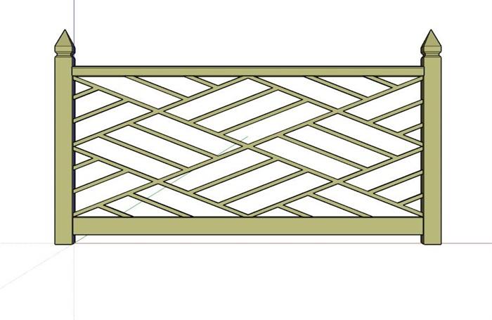 中式木栏杆设计su模型[原创]图片