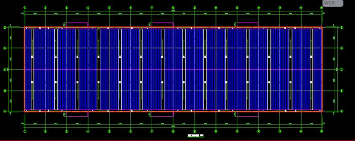 现代风格84乘24米钢结构厂房建筑cad施工图[原创]