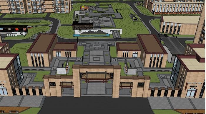 现代中式小区高层建筑设计su模型[原创]
