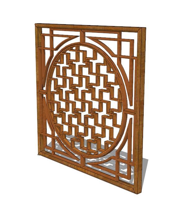 中式木质花窗su模型[原创]