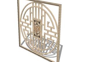古典中式详细的花窗设计SU(草图大师)模型