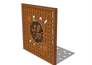 中式详细木质花窗SU(草图大师)模型