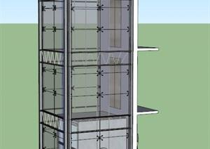 现代电梯独特设计SU(草图大师)模型
