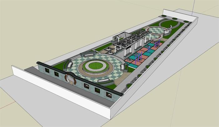 现代小广场景观设计su模型[原创]