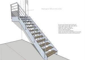 某楼梯详细设计SU(草图大师)模型
