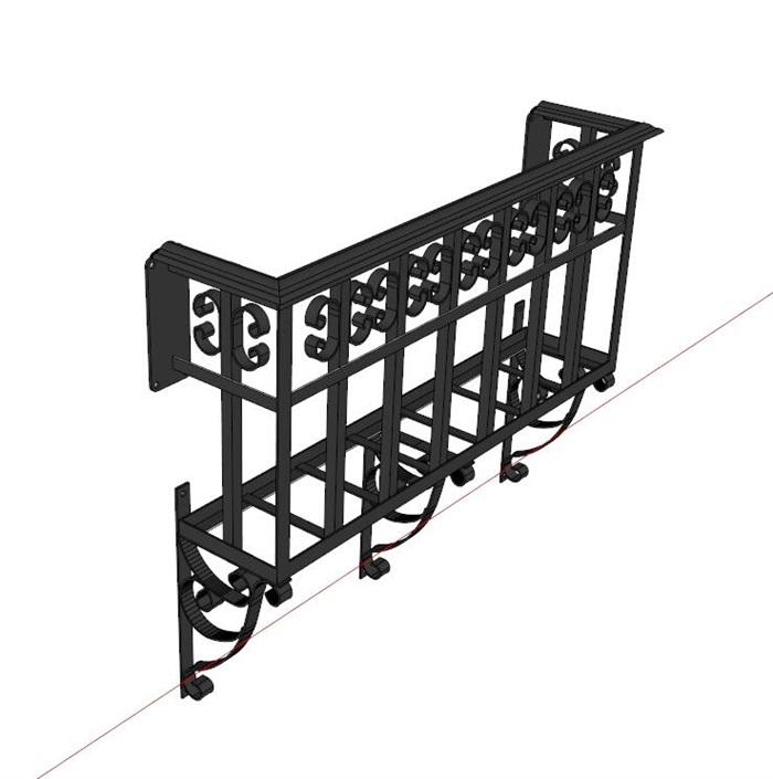 现代独特详细的栏杆素材su模型[原创]图片