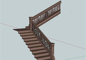 某欧式独特详细完整楼梯栏杆设计SU(草图大师)模型