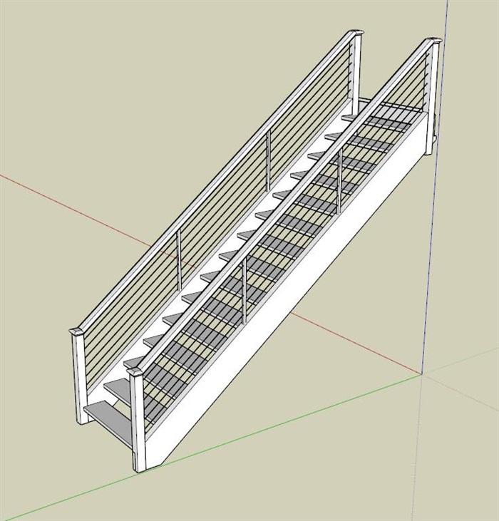 现代室内详细楼梯设计su模型