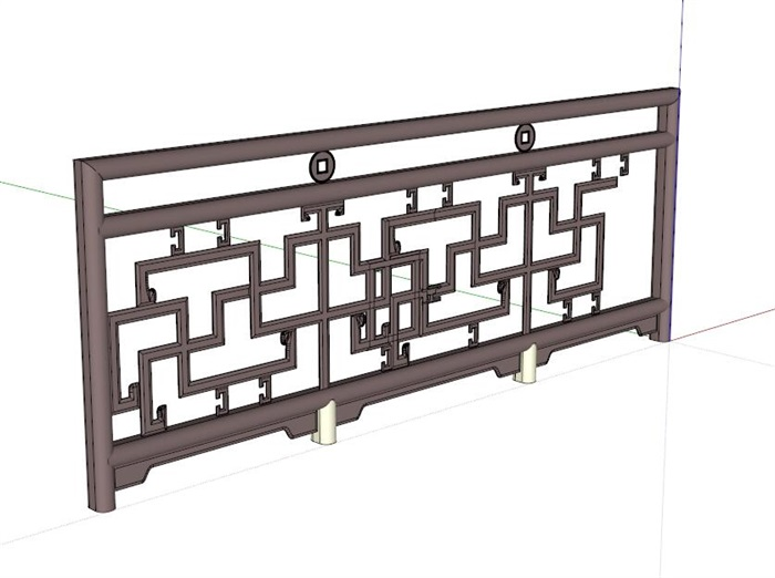 中式详细安装的栏杆su模型[原创]图片