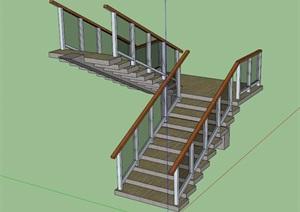 室内详细楼梯设计SU(草图大师)模型