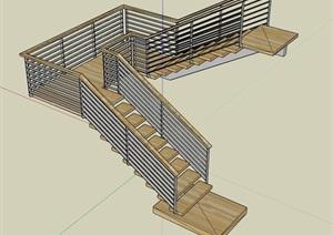 某室内详细的楼梯素材设计SU(草图大师)模型
