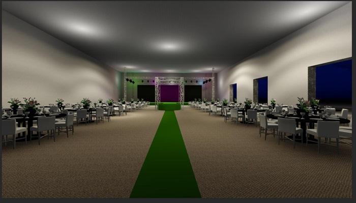 室内婚礼现场舞台设计su布置