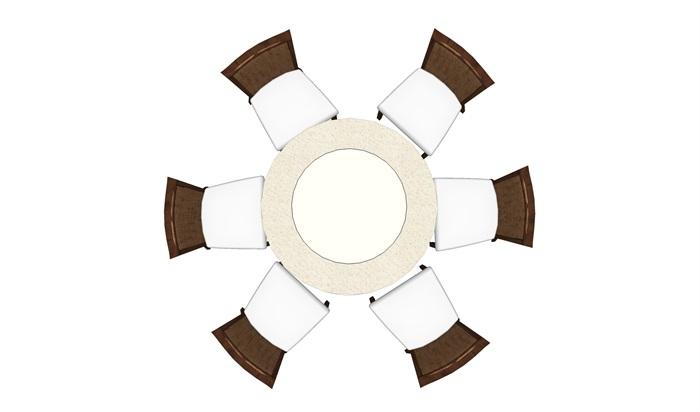 现代圆形餐桌椅设计su模型