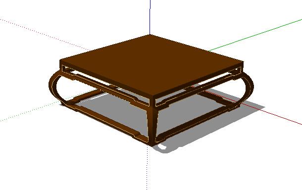 中式室内茶桌su模型