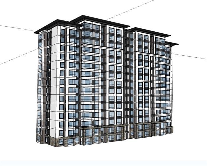 现代详细多层小区住宅楼设计su模型[原创]
