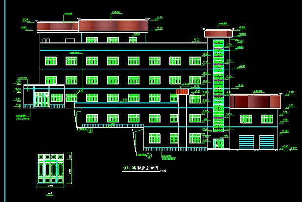22米宽18米5层特色宾馆建筑施工图设计[原创]