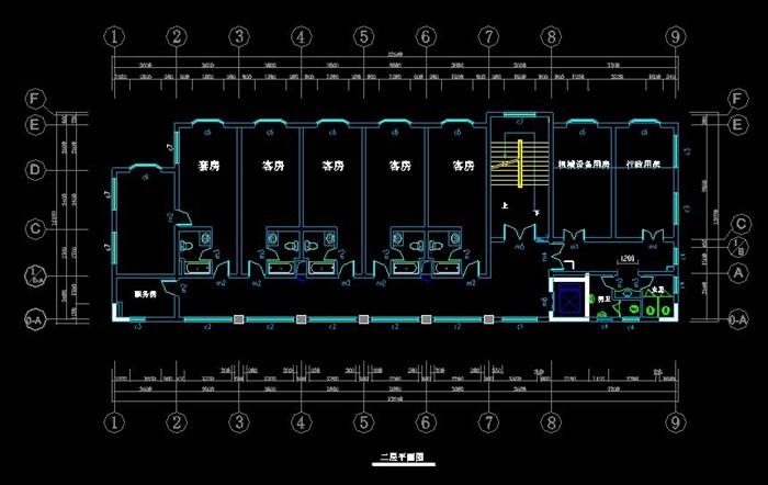 长32.64米宽12.16米4层简单旅馆建筑设计方案图[原创]