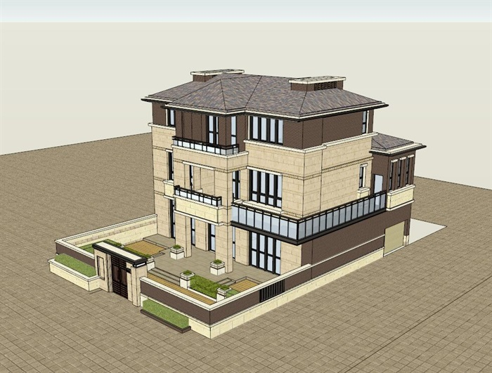 私人欧式住宅别墅设计su模型[原创]