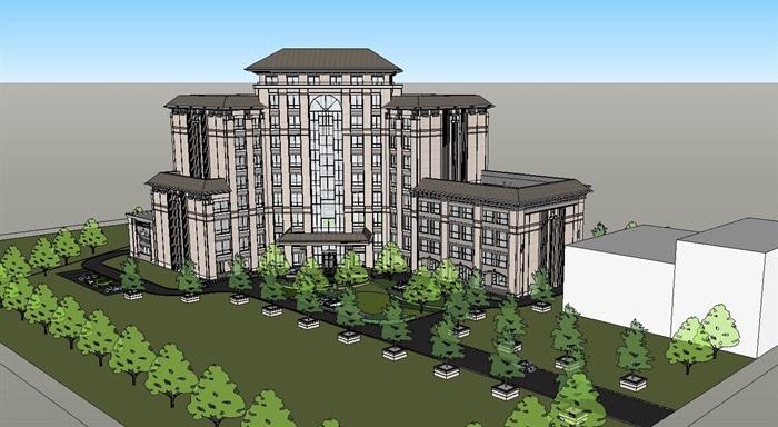 东方中式风格10层酒店设计su模型[原创]