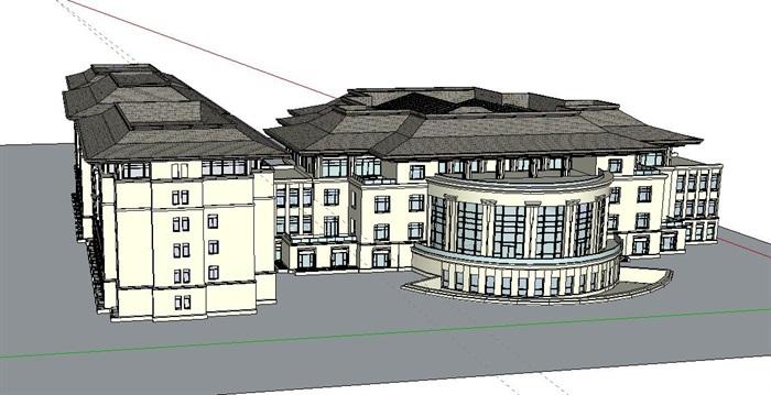 现代中式主义风格6层酒店设计su模型[原创]