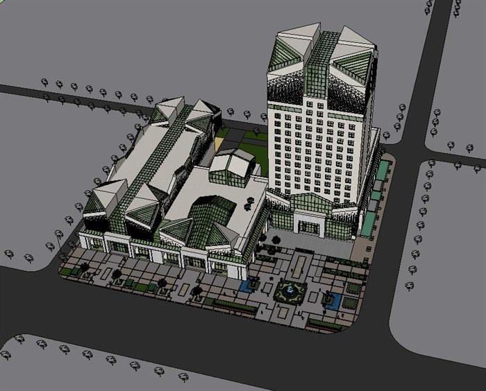 现代风格商业办公楼详细建筑设计su模型[原创]