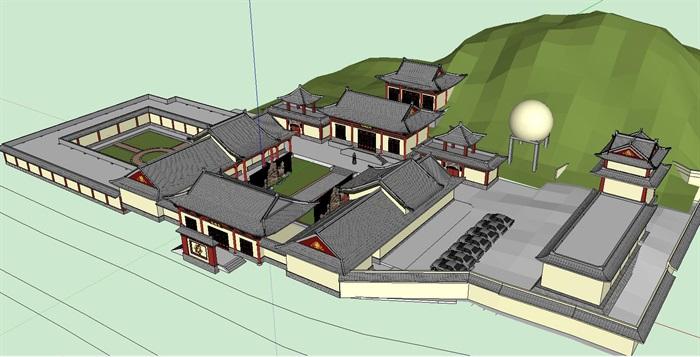 五台山寺院古建筑设计su模型[原创]