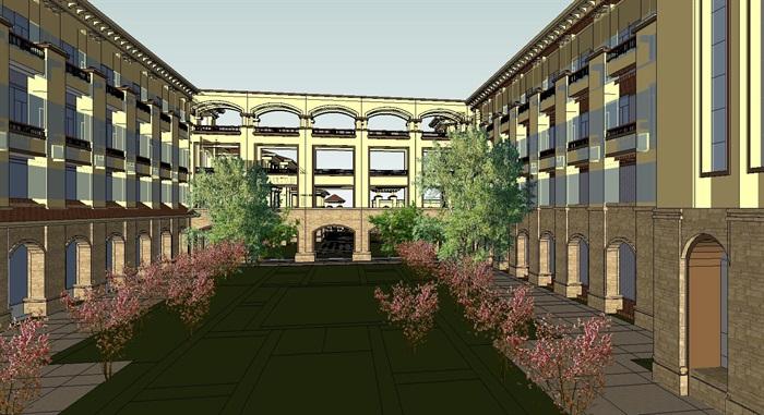 西方欧式详细的4层学校建筑设计su模型[原创]