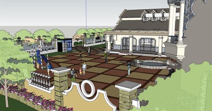 西方新古典风格幼儿园建筑设计su模型[原创]