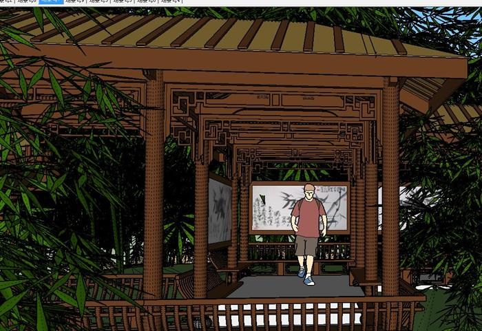 园林景观中式风格公园设计su模型[原创]