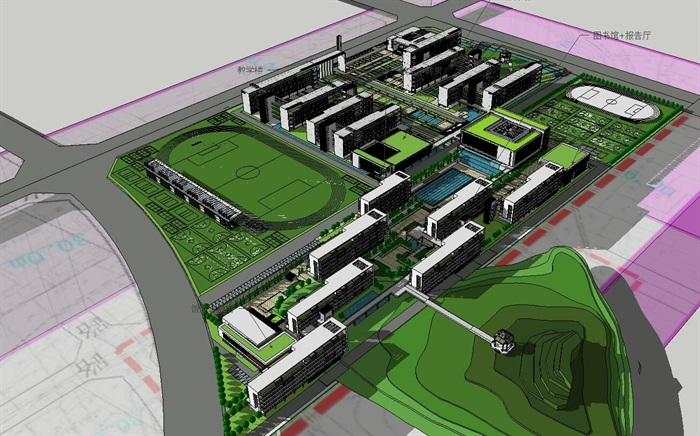 现代主义风格5层学校建筑设计su模型[原创]