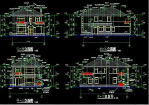 欧式独栋别墅建筑结构cad施工图