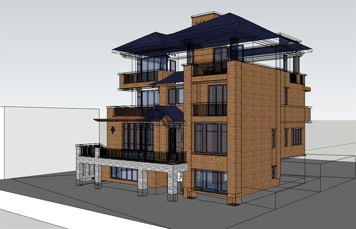北美风格3层别墅建筑设计su模型[原创]