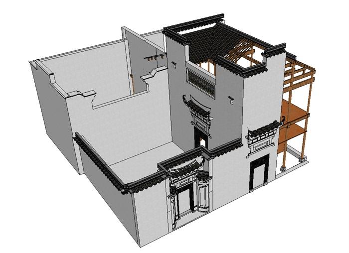徽派中式民居2层建筑设计su模型[原创]
