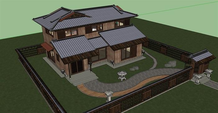 日式风格2层木屋别墅设计su模型[原创]