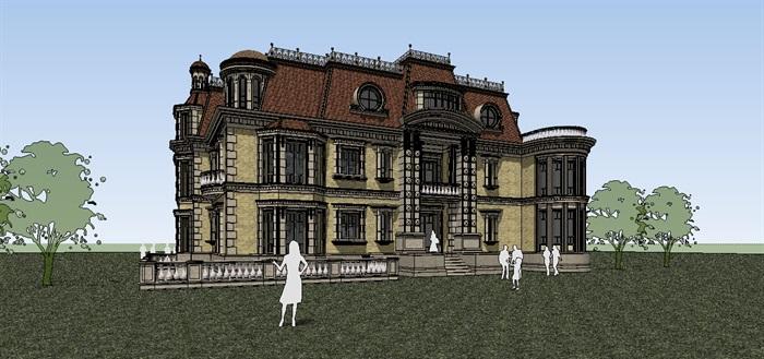 典法师风格3层别墅设计su模型